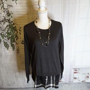 Dalia grey black plaid mock layered sweater sz S
